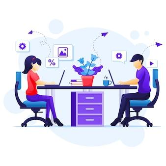 Trabajar desde el concepto de hogar, personas sentadas en el escritorio y trabajar en la computadora portátil. auto cuarentena durante la ilustración de la epidemia de coronavirus