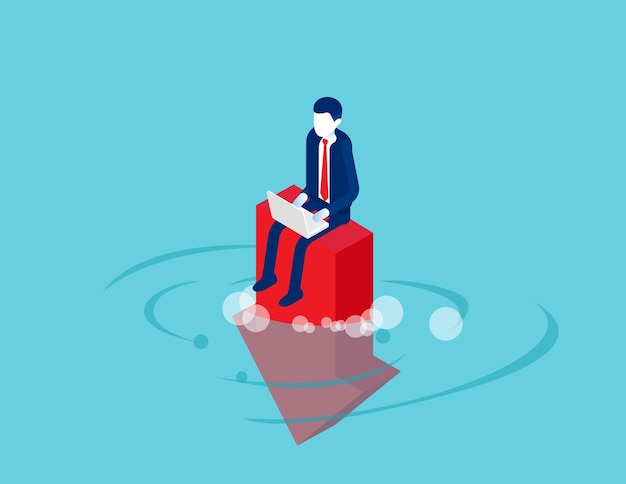 Trabajar con desesperadamente se sienta en la flecha que cae al agua