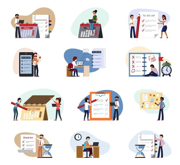 Trabajar para hacer lista de verificación conjunto de ejecución. falla en la última tarea puntual la gente en la oficina lleva a cabo las tareas establecidas por el jefe, cierra con éxito la fecha límite, cumple los planes en el trimestre y completa los informes. control de vectores.