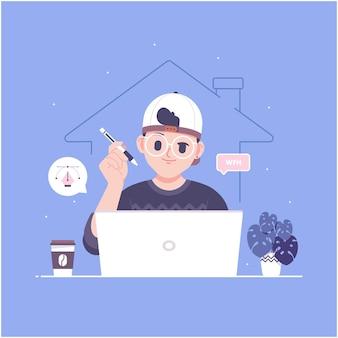 Trabajar desde la ilustración de personaje de diseñador de casa