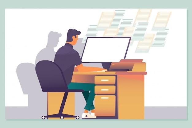 Trabajar hasta tarde, horas extras de trabajo de oficina y noches de trabajadores de computadoras