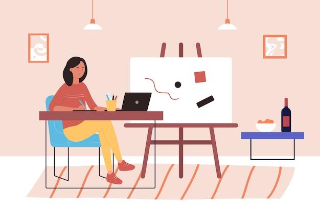 Trabajo de arte ilustrador independiente, artista independiente de dibujos animados feliz joven trabajando con ordenador portátil