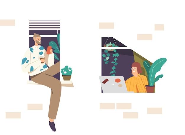 Trabajo autónomo remoto, concepto de autoempleo. personajes de autónomos de hombre y mujer sentados en la ventana trabajando lejos de casa usando la computadora portátil y el teléfono móvil. ilustración de vector de gente de dibujos animados