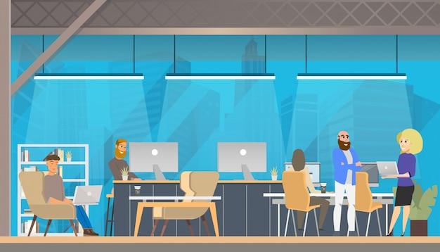 Trabajo de carácter, estudio en área de coworking moderno.
