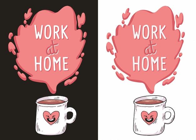 Trabajo en casa café covid-19 ilustración