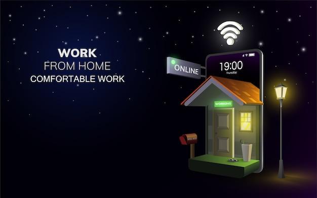Trabajo digital en línea desde su casa en el sitio web móvil en el fondo nocturno.