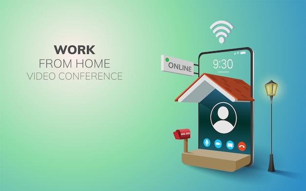 Trabajo digital en línea desde videoconferencia en el hogar, llamada en el teléfono, fondo del sitio web móvil. concepto de distancia social decoración por hogar wifi móvil. ilustración 3d pastel de diseño plano - copia espacio