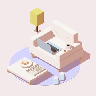 El trabajo a domicilio o el ícono de educación en línea incluyen silla, mesa, computadora portátil, la taza de café y zapatillas