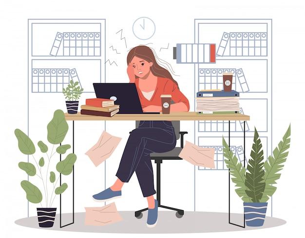 Trabajo duro de oficina con ilustración de sobrecarga