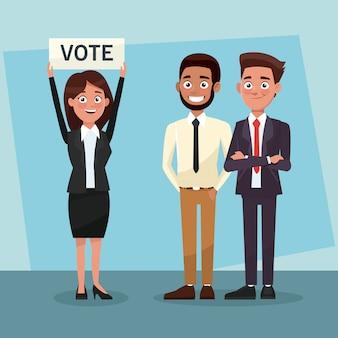 Trabajo en equipo de políticos en caricaturas de campañas de votación