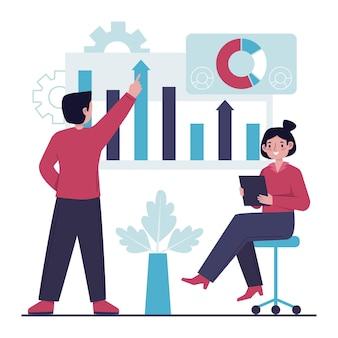Trabajo en equipo analizando tablas de crecimiento