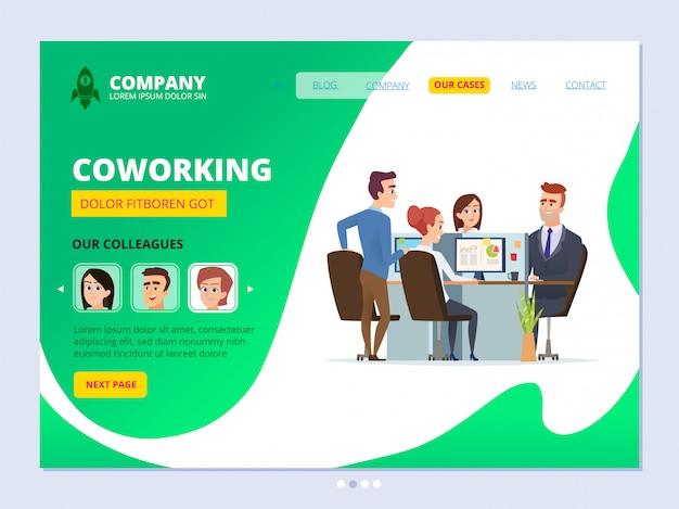 Trabajo en equipo aterrizando. concepto de coworking diseño de página web plantilla de vector de agencia de oficina masculina gerentes de espacio de trabajo empresarial