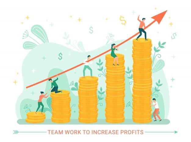 Trabajo en equipo para aumentar las ganancias personas con dinero