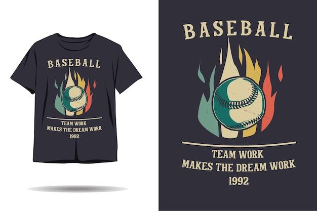 El trabajo en equipo de béisbol hace que el diseño de camiseta de silueta de trabajo soñado
