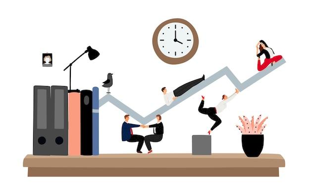 Trabajo en equipo desde casa. planificación de personal de oficina, desarrollo de estrategia financiera. gerentes que trabajan, ilustración de vector de gráfico de soporte