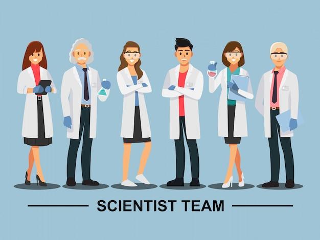 Trabajo en equipo científico, personaje de dibujos animados de ilustración vectorial.