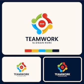 Trabajo en equipo, comunicación, plantilla de logotipo