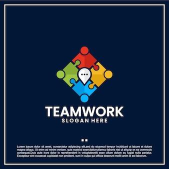 Trabajo en equipo, comunicación, ubicación, plantilla de logotipo