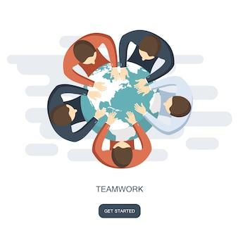 Trabajo en equipo y concepto de construcción de equipo
