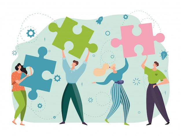 Trabajo en equipo, concepto de cooperación, rompecabezas en manos exitosas, personas alegres que trabajan juntas diseño, ilustración de dibujos animados.