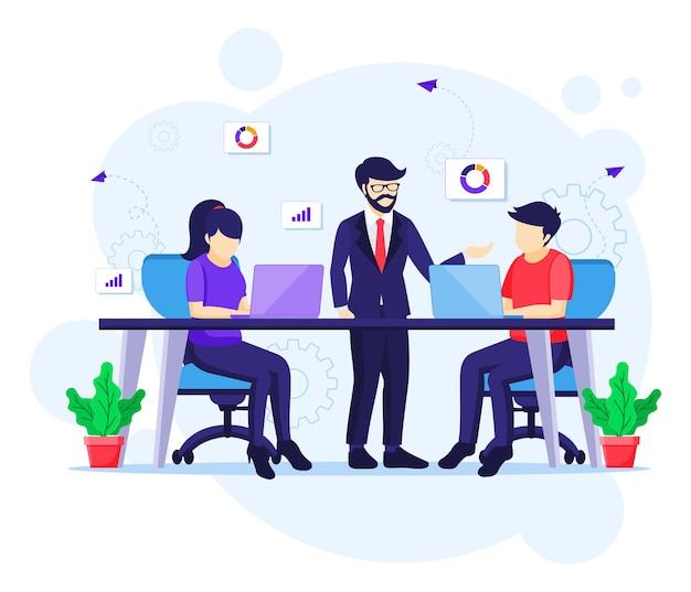 Trabajo en equipo en concepto de espacio de trabajo conjunto, personas en reunión y trabajo en escritorio