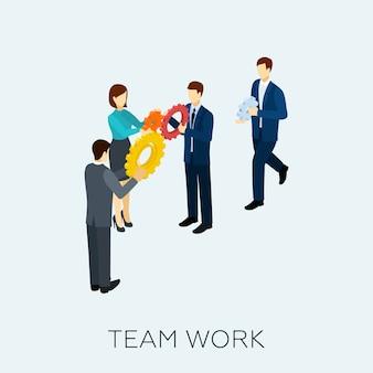Trabajo en equipo, concepto, isométrico