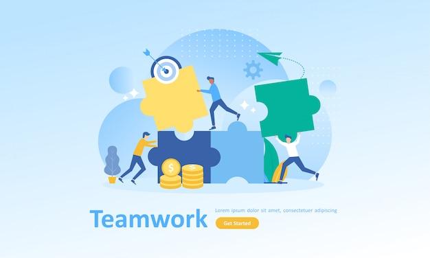 Trabajo en equipo conectando rompecabezas