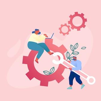 Trabajo en equipo cooperación en mecanismo de engranajes