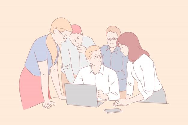 Trabajo en equipo, coworking, cooperación. jóvenes empresarios sonrientes se encuentran en la oficina. empresarios y mujeres de negocios cerca del jefe y la computadora portátil discuten nuevas ideas o una nueva empresa. plano simple