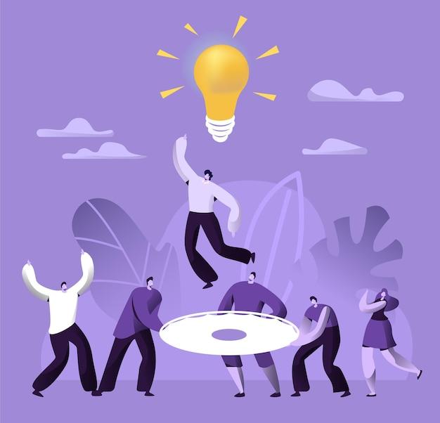 Trabajo en equipo creativo éxito empresarial personas trabajan juntas.