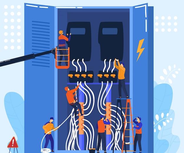 Trabajo de equipo electricista con panel eléctrico, concepto de personajes de dibujos animados de personas pequeñas, ilustración