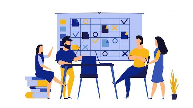 Trabajo en equipo emprendimiento, trabajo de oficina ilustración con computadora pc.