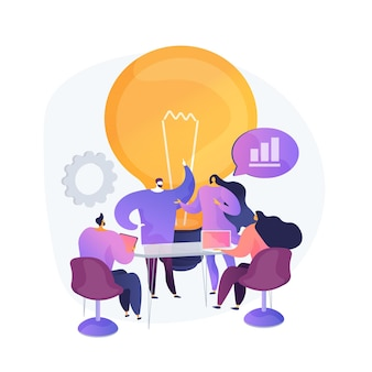Trabajo en equipo de empresa, generación de ideas. discusión, reunión, conferencia. lluvia de ideas de personajes de trabajadores corporativos, planificación de estrategia empresarial.