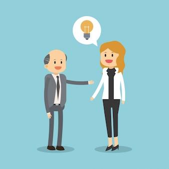 Trabajo en equipo empresarial con idea