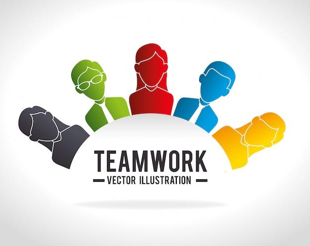 Trabajo en equipo empresarial y liderazgo.