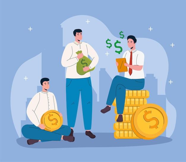 Trabajo en equipo de empresarios con dólares de dinero
