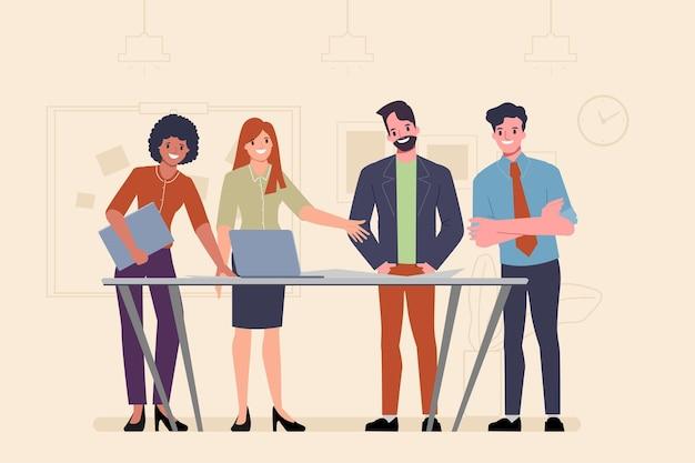 Trabajo en equipo de empresarios en la idea del concepto de oficina.