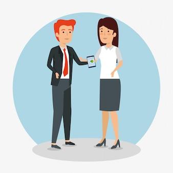 Trabajo en equipo de empresarios con tableta