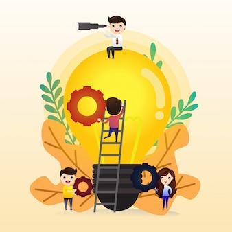 Trabajo en equipo para encontrar nuevas ideas, gente pequeña lanza un mecanismo, busca nuevas soluciones, trabajo creativo