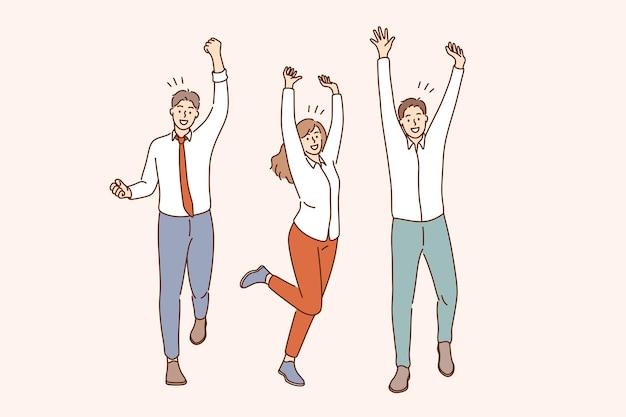 Trabajo en equipo de éxito celebrando el concepto de victoria
