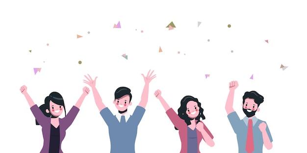 El trabajo en equipo de la gente de negocios de carácter exitoso. vector gratuito
