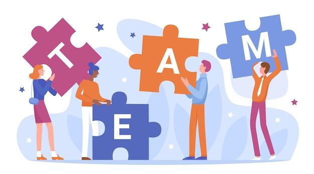 El trabajo en equipo de la gente de negocios conecta la ilustración de vector de rompecabezas.