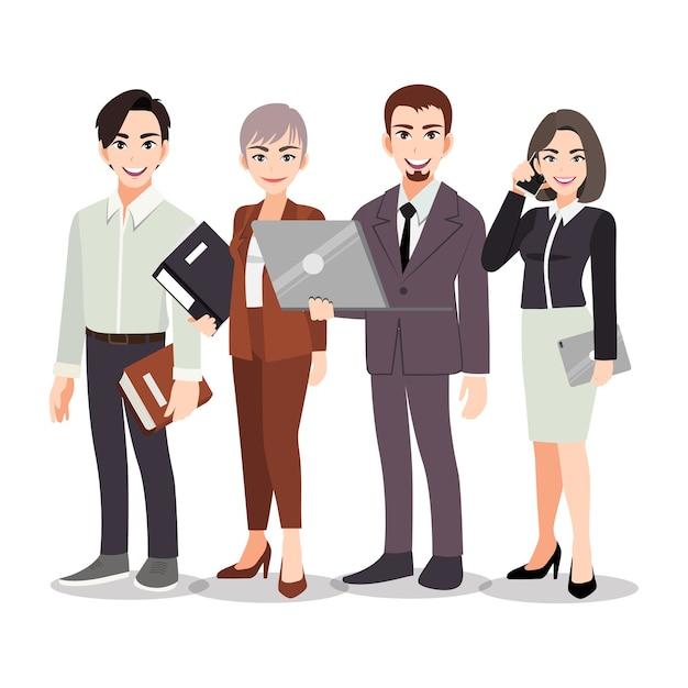 Trabajo en equipo de gente de negocios de pie juntos sobre el fondo blanco