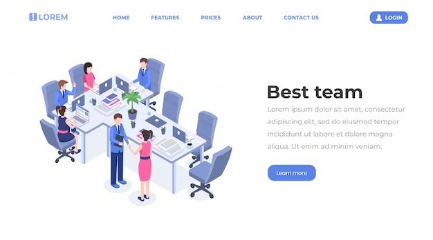 Trabajo en equipo de grupo empresarial, asociación profesional, cooperación, gerentes de oficina, empleados en el diseño del lugar de trabajo
