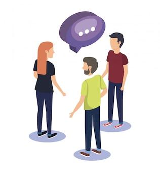 Trabajo en equipo de grupo de personas con globo de discurso
