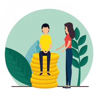Trabajo en equipo de hombre y mujer con plantas y monedas