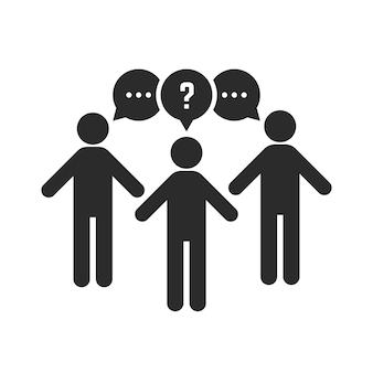 Trabajo en equipo con hombre de palo negro. concepto de red social, cuestionario, multitud, trabajador diferente, cooperación de inicio, discusión. ilustración de vector de diseño gráfico moderno de tendencia de estilo plano sobre fondo blanco
