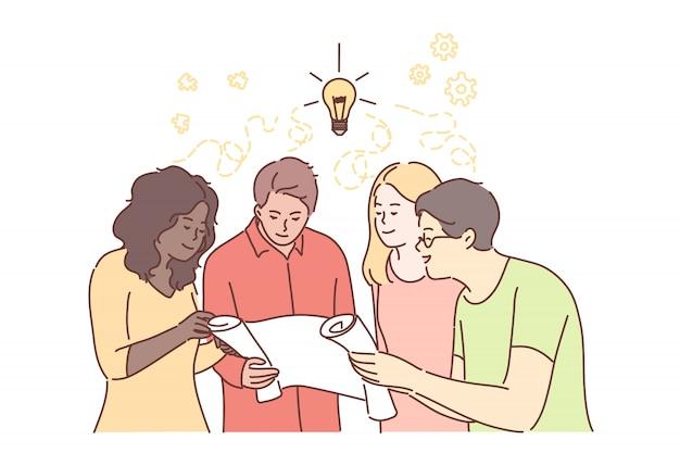 Trabajo en equipo, idea, lluvia de ideas, coworking, negocios, análisis, reunión, concepto de discusión