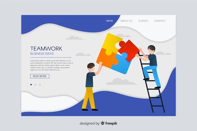 Trabajo en equipo ilustrado página de inicio de negocios