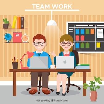 Trabajo en equipo, linda oficina